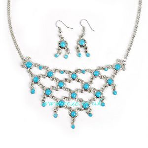 Turquoise bead necklace and earring set, (jnn21)